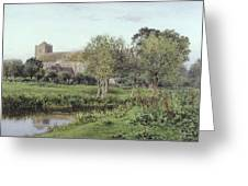 Dorchester Abbey, Near Wallingford, Autumn Evening Greeting Card