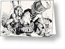 Dormouse In The Teapot Mad Tea Party Greeting Card by John Tenniel
