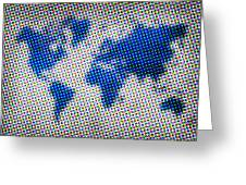 Dotted Blue World Map Greeting Card