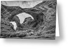 Double Arches Bw Greeting Card