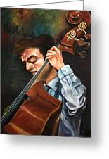 Double Bass Player Greeting Card