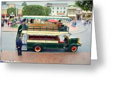 Double Decker Bus Main Street Disneyland 02 Greeting Card