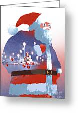 Double Exposure Of Santa Claus And Greeting Card