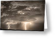 Double Lightning Strikes In Sepia Hdr Greeting Card by James BO  Insogna