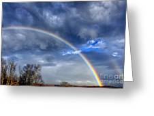 Double Rainbow Over Mountain Greeting Card by Thomas R Fletcher