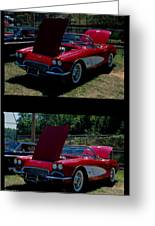 Double Red Corvette Greeting Card