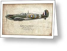 Douglas Bader Spitfire - Map Background Greeting Card by Craig Tinder
