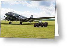 Douglas C-47a Skytrain Ready For D-day Greeting Card