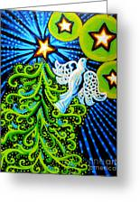 Dove And Christmas Tree Greeting Card