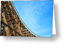 Down A Wooden Roller Coaster Ride Greeting Card
