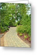 Down The Path To The Bench Greeting Card