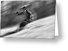 Downhill Skier  Greeting Card by Dan Friend
