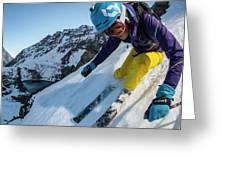 Downhill Skiier In Portillo, Chile Greeting Card