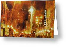 Downtown 6th St Seattle In Dec Greeting Card