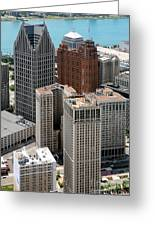 Downtown Aerial Of Detroit Michigan Greeting Card