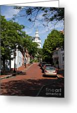 Downtown Annapolis With Maryland State House Cupola Greeting Card