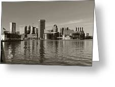 Downtown Baltimore Skyline Sepia Greeting Card