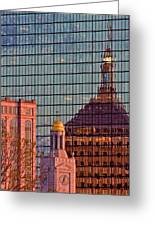 Downtown Boston Reflection Greeting Card