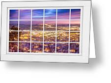 Downtown Boulder Colorado City Lights Sunrise  Window View 8lg Greeting Card