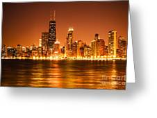 Downtown Chicago At Night With Chicago Skyline Greeting Card by Paul Velgos