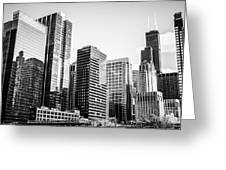 Downtown Chicago Buildings In Black And White Greeting Card