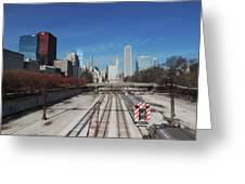 Downtown Chicago With Train Tracks Greeting Card
