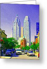Downtown Core Flatiron Building And Cn Tower Toronto City Scenes Paintings Canadian Art Cspandau Greeting Card