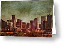 Downtown Denver Antiqued Postcard Greeting Card