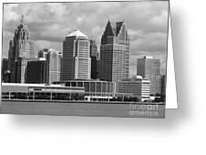 Downtown Detroit Riverfront Bw Greeting Card