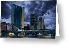 Downtown Grand Rapids Michigan By The Grand River With Gulls Greeting Card