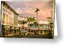 Downtown Hilo Sunday Morning Greeting Card
