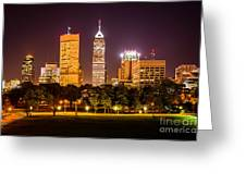 Downtown Indianapolis Skyline At Night Picture Greeting Card