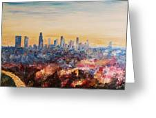 Downtown Los Angeles At Dusk Greeting Card