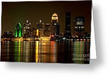 Downtown Louisville Kentucky Skyline Night Shot Greeting Card