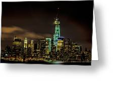 Downtown Manhattan At Night Greeting Card
