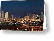 Downtown Miami Skyline At  Greeting Card