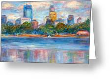 Downtown Minneapolis Skyline From Lake Calhoun II - Or Commission Your City Painting Greeting Card