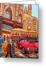 Downtown Montreal-streetcars-couple Near Red Fifties Mustang-montreal Vintage Street Scene Greeting Card