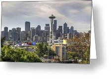 Downtown Seattle Skyline With Mount Rainier Greeting Card