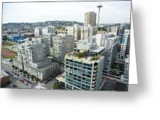 Downtown Skyline, Space Needle Greeting Card