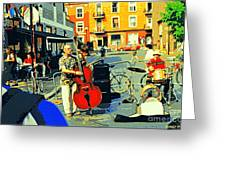 Downtown Street Musicians Perform At The Coffee Shop With Cool Tones On A Hot Summer Day Greeting Card