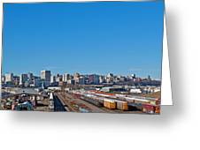 Downtown Tacoma View From The Rail Lines Greeting Card