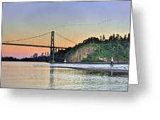 Downtown Vancouver And Lions Gate Bridge At Twilight Greeting Card by Eti Reid