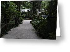 Downward Sloping Part Inside The National Orchid Garden In Singapore Greeting Card
