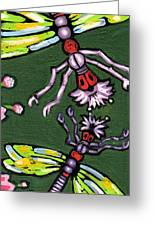 Dragonflies And Water Lilies Greeting Card