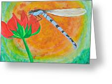 Dragonfly On Red Flower Greeting Card
