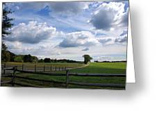 Dramatic Blustery Sky Over The Hayfield Greeting Card