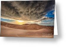 Dramatic Clouds Over The Sand Dunes Greeting Card
