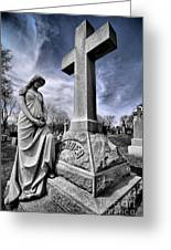 Dramatic Gravestone With Cross And Guardian Angel Greeting Card