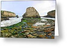 Dramatic Panoramic View Of Shark Fin Cove Greeting Card by Jamie Pham